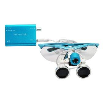 Blue 2.5X 320mm Dentist Dental Surgical Medical Binocular Loupes Optical Glass Loupe + Portable LED Head Light Lamp