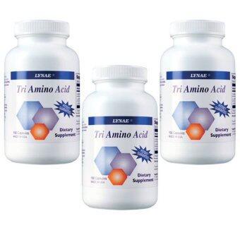 LYNAE Tri Amino Acid Vitamin USA ไลเน่ ไตรอะมิโน ช่วยเพิ่มการสร้างกล้ามเนื้อ กระตุ้นการเติบโตเซลล์กระดูก เพิ่มความสูง 100 แคปซูล x 3 ขวด