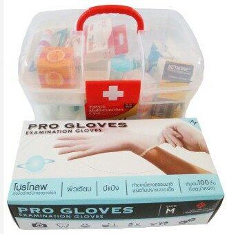 """PK MED ชุดปฐมพยาบาล รุ่น A-Plus - สีขาว/แดง + PK MED ถุงมือยาง Pro Gloves Size """"M"""" - สีขาว"""
