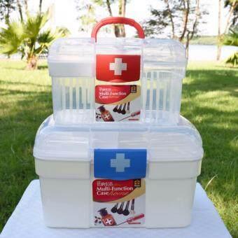 """PK MED กล่องใส่ยา size """"S"""" (สีขาว/แดง) + PK MED กล่องใส่ยา size """"L"""" (สีขาว/น้ำเงิน)"""