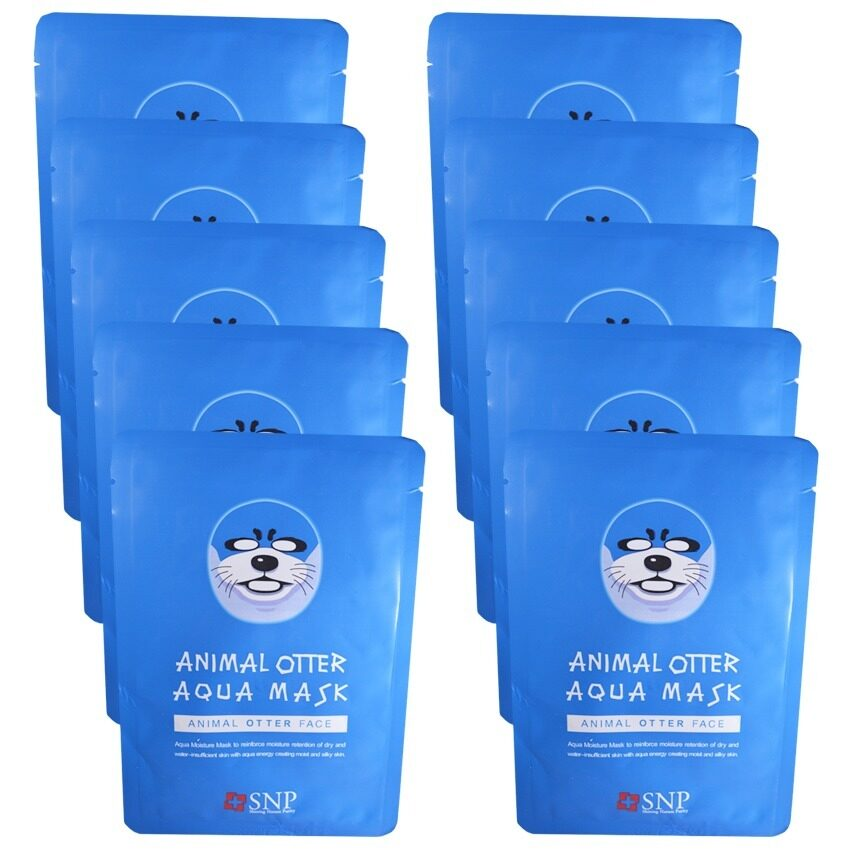 SNP Animal Otter Aqua Mask แผ่นมาส์คหน้ารูปสัตว์ (10 แผ่น) ...