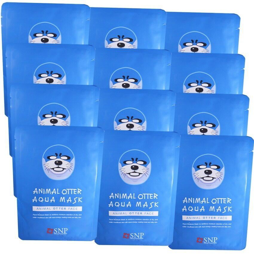 SNP Animal Otter Aqua Mask แผ่นมาส์คหน้ารูปสัตว์ (12 แผ่น) ...