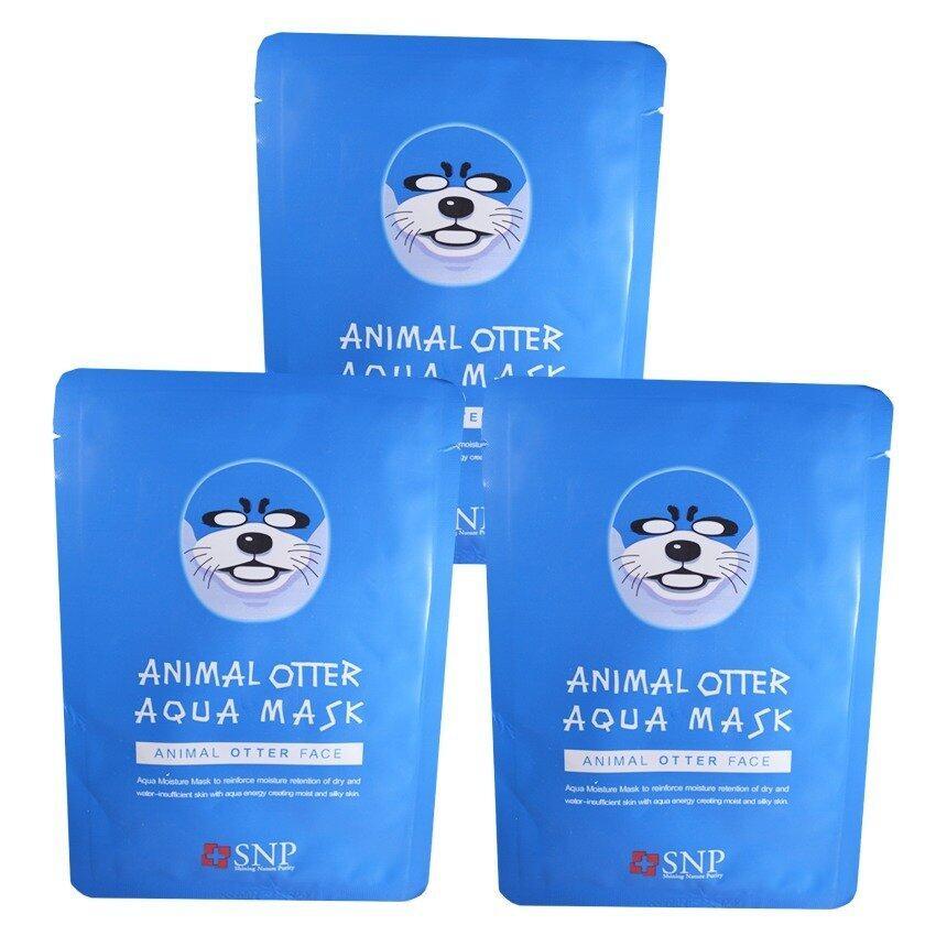 SNP Animal Otter Aqua Mask แผ่นมาส์คหน้ารูปสัตว์ (3 แผ่น)