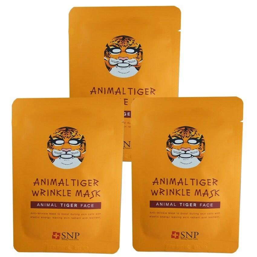 SNP Animal Tiger Wrinkle Mask แผ่นมาส์คหน้ารูปสัตว์ (3 แผ่น)