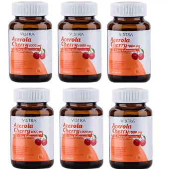 Vistra Acerola Cherry 1000 mg 45เม็ด(6ขวด)วิสทร้า อะเซโรลาเชอร์รี่1000มก