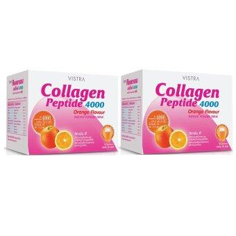 VISTRA Collagen Peptide 4000 mg. (Orange Flavour 10 ซอง) แพ็คคู่
