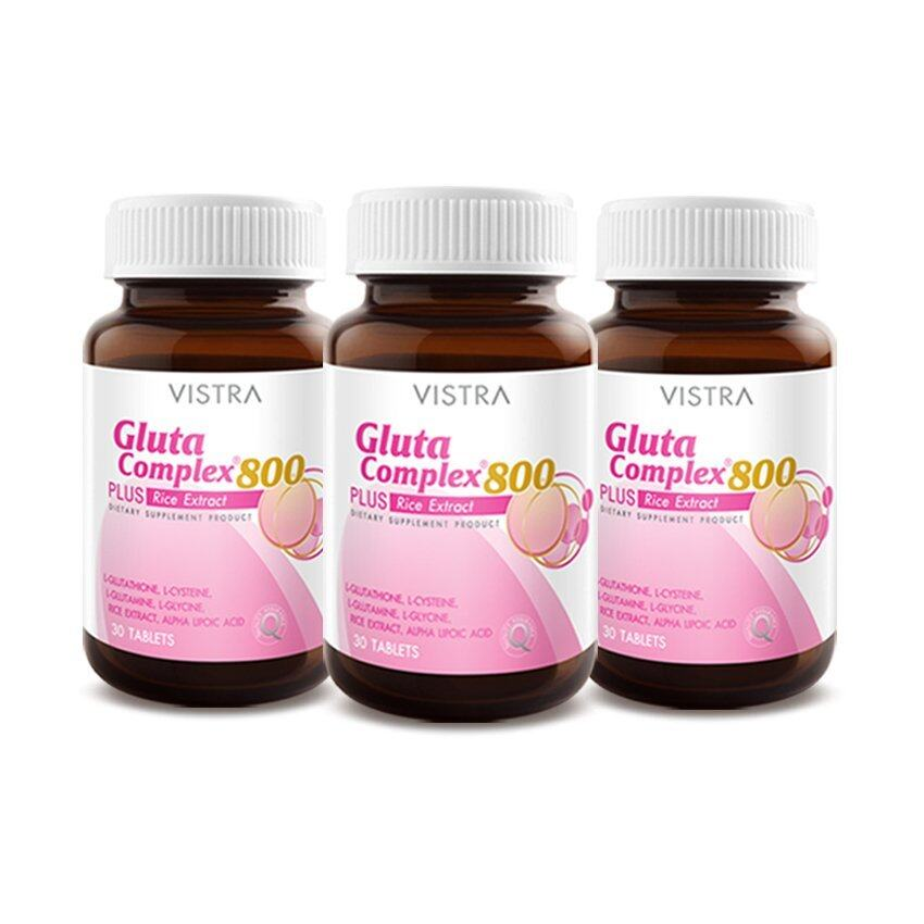 VISTRA Gluta Complex 800 Rice Extract (30Tablets) แพ็ค 3 ขวด