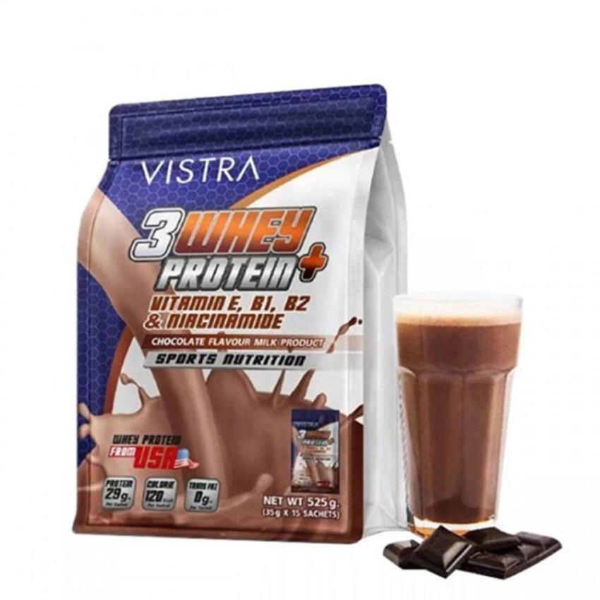 VISTRA Sport 3 Whey Protein+เสริมสร้างกล้ามเนื้อกลิ่นช๊อกโกแลต525g ...