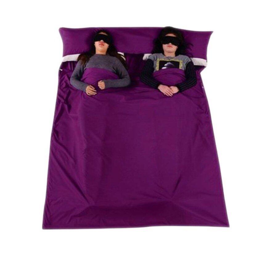 2คนเรือขนาดเล็กใหญ่ถุงนอน ผ้าปูที่นอนหลับสองกระสอบท่องเที่ยว สี่เหลี่ยม สำหรับท่องเที่ยว เด็กหอ ปิกนิก 210ซม x 160ซม สีม่วง