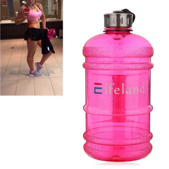 2 PCS 2.2 Liter (Half Gallon) 64oz BPA-Free Large Training Gym Water Bottle Handle Rose marry