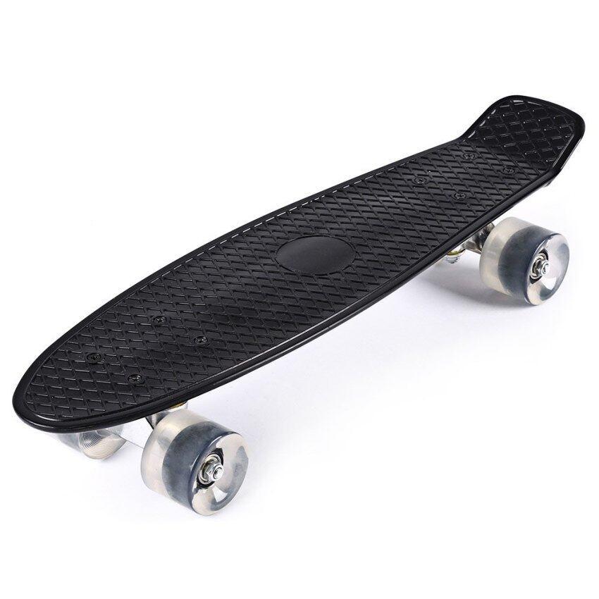 22 Inches Mini Cruiser Banana Style Longboard Pastel Color Fish Skateboard with LED Flashing Wheels (Intl)