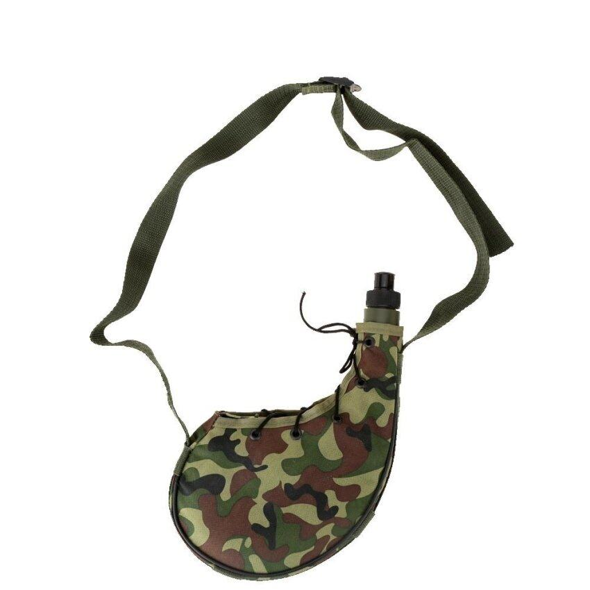 800ml Outdoor Sports Camping Camouflage Water Bottle Canteen Green