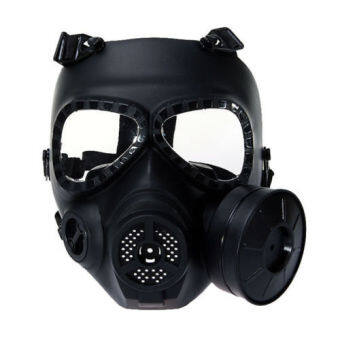 Anti Fog Turbo Fan System Full Face Protector Mask Wargame Paintball in Black - Intl - intl
