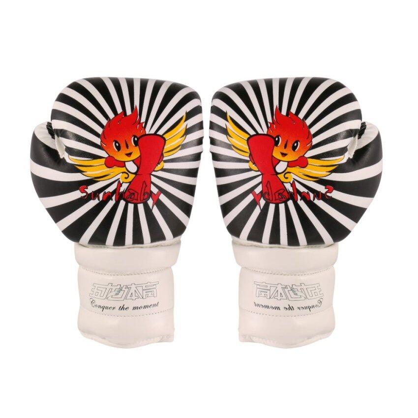 BolehDeals Kids PU Leather Kickboxing MMA Training Punch Bag Boxing Gloves-Black White - intl