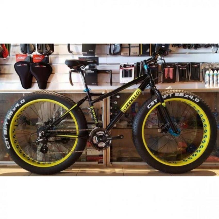 จักรยานCannello จักรยานล้อโต FAT BIKEรุ่น THE ROCK สีดำด้าน-เขียวสะท้อนแสง