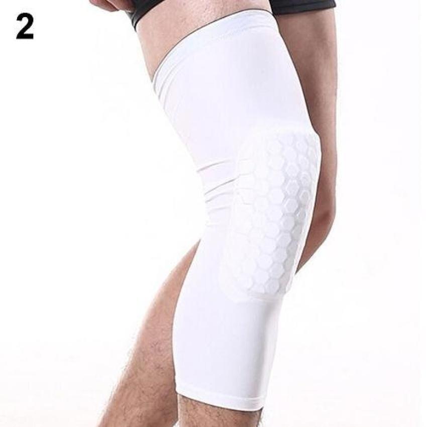 Crashproof Sports Knee Pads Football Basketball Leglong Sleeve Kneepad Protector L (Whit ...