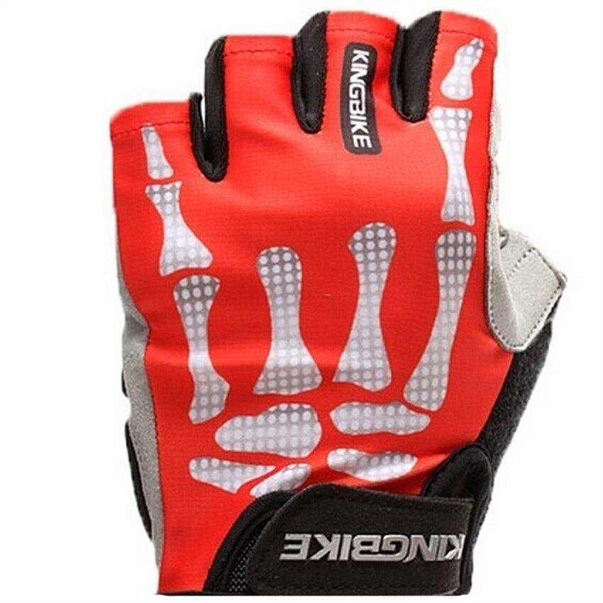 DHS Outdoor Weather Gloves for Riding, Half-Finger Gloves for Riding Bike Red