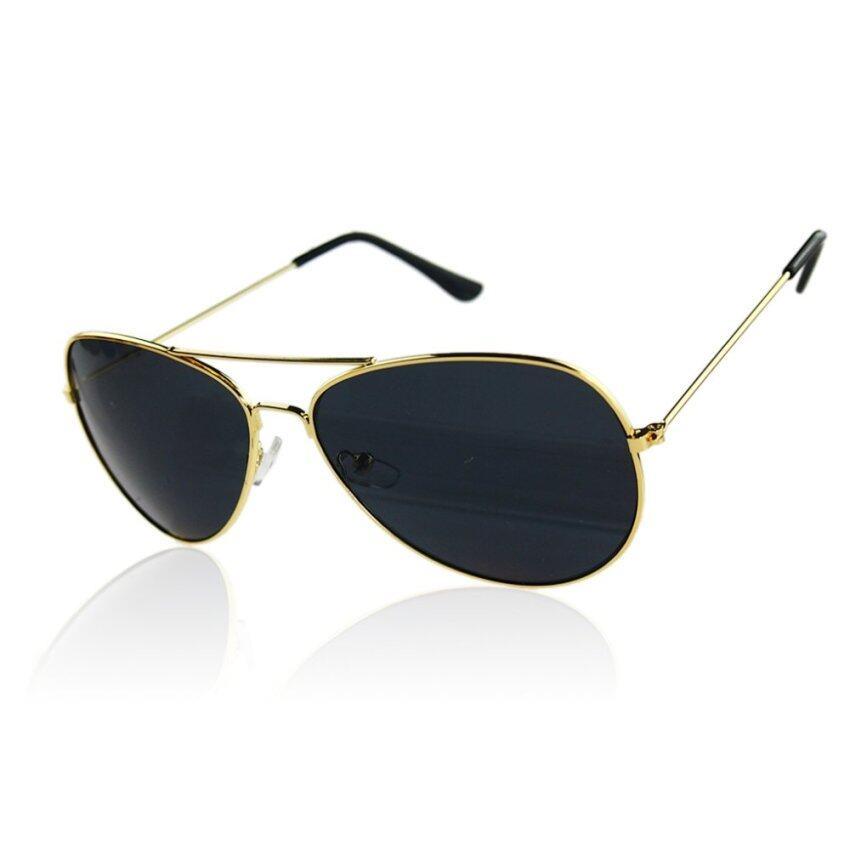 Elenxs New Fashion Men Women Reflective Lens Aviator Gold Frame Sunglasses(Grey)
