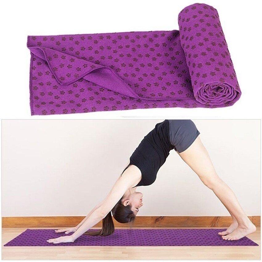 Folding Yoga Mat Towel Purple - intl .