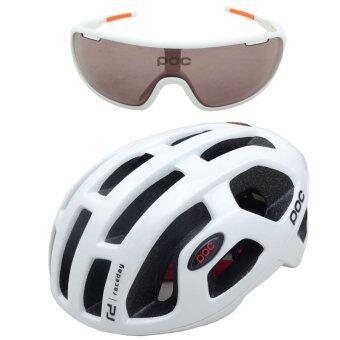 Gateway หมวกจักรยาน รุ่น POC-580 - สีขาว+แว่นตาจักรยาน POC พร้อมเลนส์เปลี่ยน 2 แบบ สีขาว