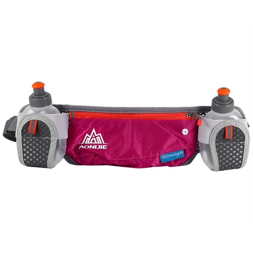 Hot Sport Running Cycling Waist Pack Belt Bag With Storage Pockets & Water Bottle (Rose