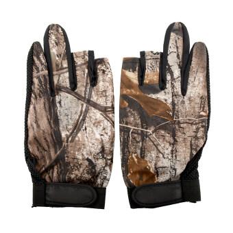 Aukey 3 Cut Finger Anti Slip Camouflage Fishing Gloves Protect