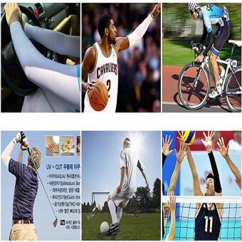 AQUA-X ICY ปลอกแขนขี่จักรยาน ปลอกแขนนักกอล์ฟ กันยูวี ถุงแขนกันแดด ปลอกแขนยูวีกันแดด จากเกาหลี FREE SIZE ใส่เย็น ยืดเยอะ นิ่มสบาย ไร้รอยต่อ แพกคู่ (สีดำ) (image 3)