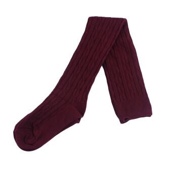 ผู้หญิงแฟชั่นผ้าฝ้ายถักถุงเท้าถุงน่องถุงน่องโคนขาเหนือหัวเข่าถุงเท้าสูงไวน์แดง