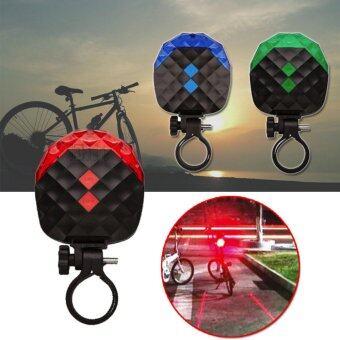 Elit ไฟท้ายจักรยานคริสตัล LEDไฟกระพริบ 7 โหมด พร้อม Laser Lane Elit 5LED Bicycle Warning Flashing (Black-red)