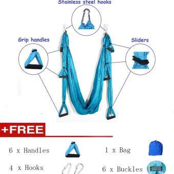 6 Colors Decompression Hammock Inversion Trapeze Anti-Gravity Aerial Traction Yoga Gym Swing Strap Belt Hanging + 6Pcs Handle + 4Pcs Hooks + 6Pcs Buckles + 1Pc Bag - intl image