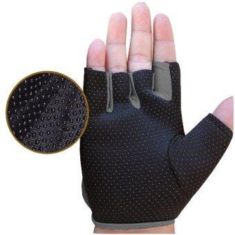 ถุงมือออกกำลังกาย ถุงมือฟิตเนส Fitness Glove Weight Lifting Gloves ( สีเทา) Size : S image