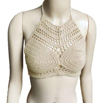 หญิงสาวเซ็กซี่ Boho ถักเสื้อไหมพรมเสื้อยกทรงพืชชายหาดบิกินี่เสื้อยกทรง Bralette กลวง