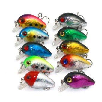 10ชิ้นปลาปลากะพงปลาเหยื่อปลอมเหยื่อล่อ Crankbait ตะขอ
