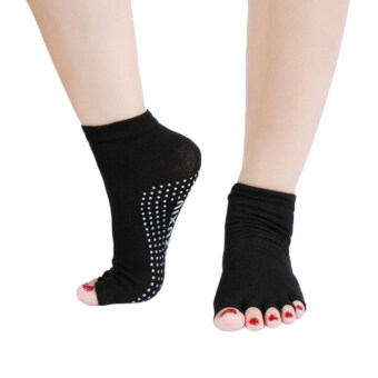 Amango Yoga Socks Half Anti-Slip Pilates Ankle Five Fingers Cotton Set of 2 (Black)