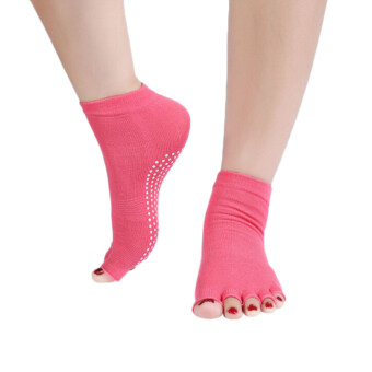Amango Yoga Socks Half Anti Slip Pilates Ankle Five Fingers Cotton Set of 2 (Red)