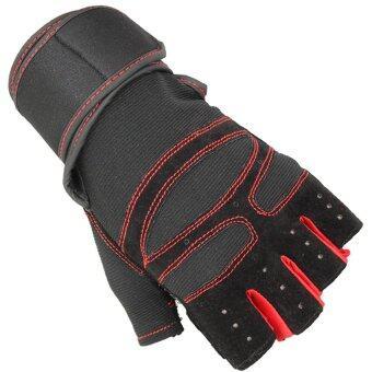 SUPER SPORT ถุงมือ ฟิตเนส ยกน้ำหนัก เทรนนิ่ง Sports Weight Lifting Half Finger Gloves SIZE M -Red image