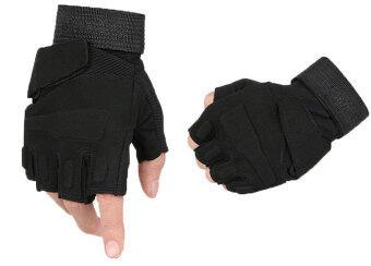 niceEshop ครึ่งนิ้วถุงมือขี่ม้าล่าสัตว์ Airsoft (สีดำ xl)