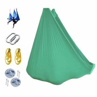 5M Length Yoga Flying Swing Anti-Gravity Yoga Hammock Fabric Aerial Traction Device + 2Pcs 1M Extension Belt + 2Pcs TRX Anchors + 2Pcs Hooks image