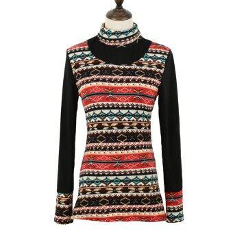 นิวแฟชั่นเกาหลีหญิงเสื้อยืดเสื้อคอเต่าตัวยาวลายเรโทรเปลื้องเสื้อเชิ้ตธรรมดา