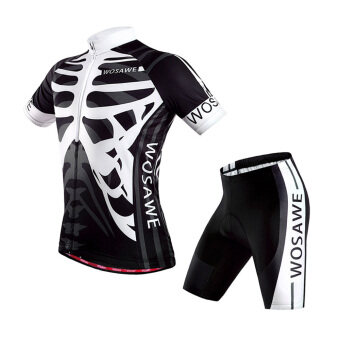 360DSC WOSAWE BC462 Unisex Summer Sport Skeleton Cycling Bicycle Bike Cycle Short Sleeve Jersey Shirts Tops, 4D Cushion Padded Shorts Tights Pants Sportswear Set - Black L