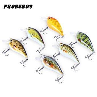 Proberos 6ชิ้น 6 สีลวงเหยื่อ crankbait ตะขอเบ็ด