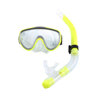 Diving Tempered Glass Snorkel Set Full Dry Breathing Tube Snorkeling Equipment (Yellow) - intl