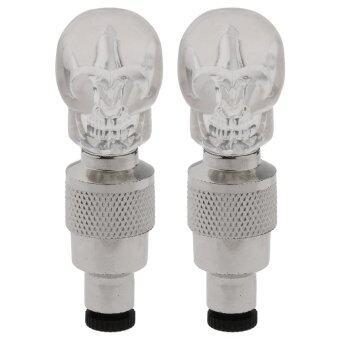 360DSC 2 Pcs Skull Head Shape Colorful LED Flashing Light Valve Sealing Cap for Bicycle Tire