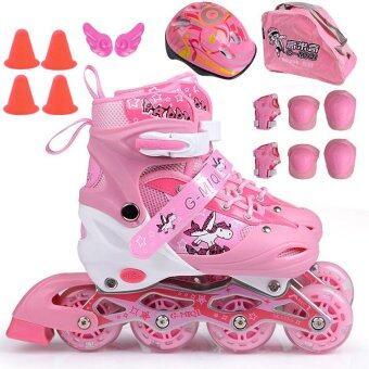 รองเท้าสเก็ต พร้อมอุปกรณ์ รุ่น G-MIQI ไซด์ 34-37M (สีชมพู)