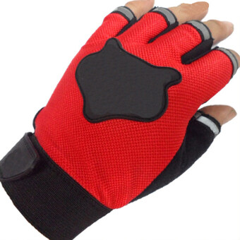 Amango Sports Half Fingers Gloves (Red)