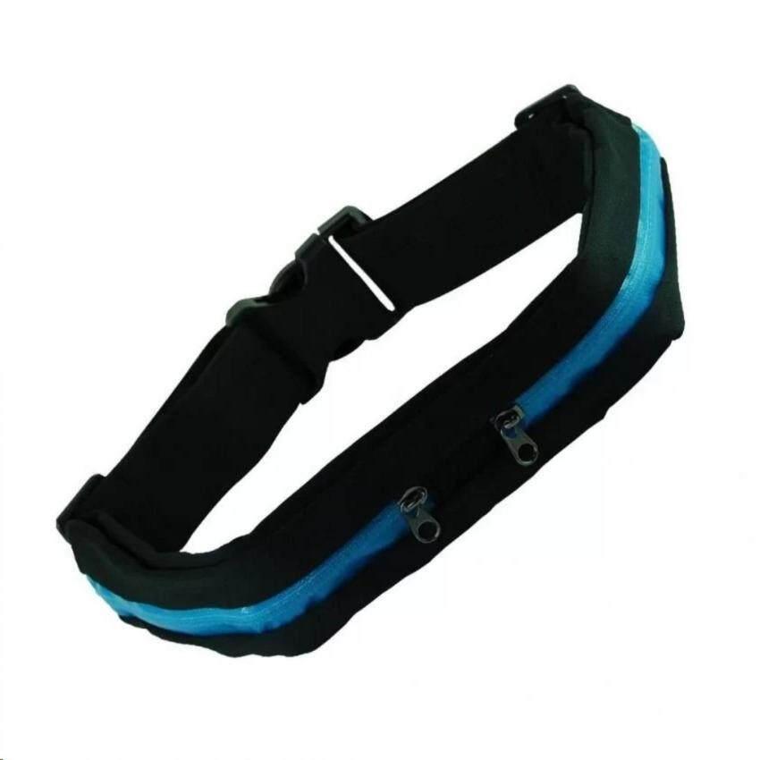 Itsara Sport Bag กระเป๋าคาดเอวใส่วิ่งออกกำลังกาย แบบ 2 ช่อง (Blue/Black )