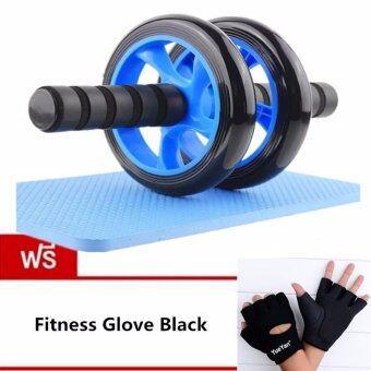 JJ ลูกกลิ้งบริหารหน้าท้อง ล้อกลิ้งเล่นกล้ามท้อง แบบล้อคู่ บริหารกล้ามท้อง ขนาด 14 CM แถมฟรี YUEYAN ถุงมือฟิตเนส ถุงมือออกกำลังกาย Fitness Glove Weight Lifting Gloves Black( Int:M)