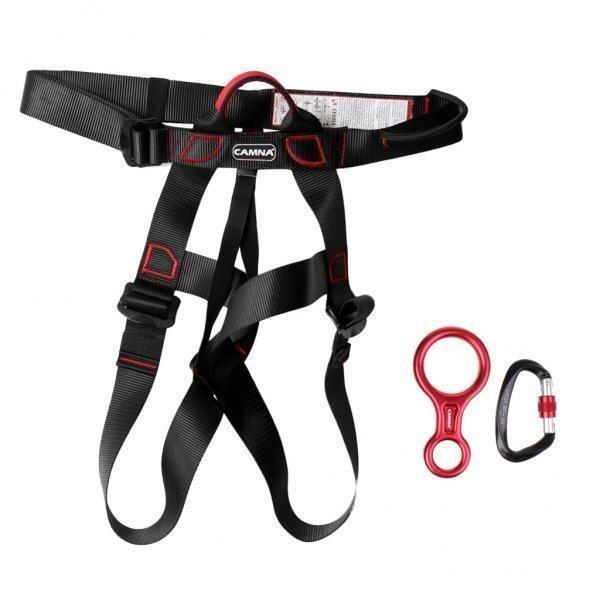 MagiDeal New Rock Climbing Sit Harness + 35KN Figure 8 Belay Device + 25KN Carabiner - i ...