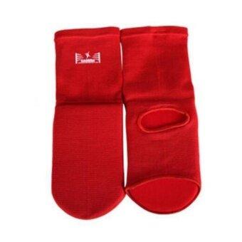 MF Adults Kids 100% Cotton Elastic Instep Guards Boxing Taekwondofreecaombat Red S - intl