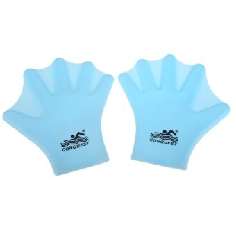 MF Swimming Webbed Gloves Adult Frog Finger Fin Paddle Handwearsilicon Blue - intl